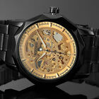 Luxury Men's Black Gold Skeleton Dial Stainless Steel Automatic Mechanical Watch