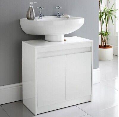 New Modern White High Gloss Storage Under Sink Cabinet Bathroom Vanity Unit Ebay