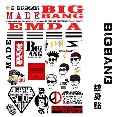 BIGBANG big bang G-DRAGON MADE KPOP TAEYANG GD TATOO STICKER