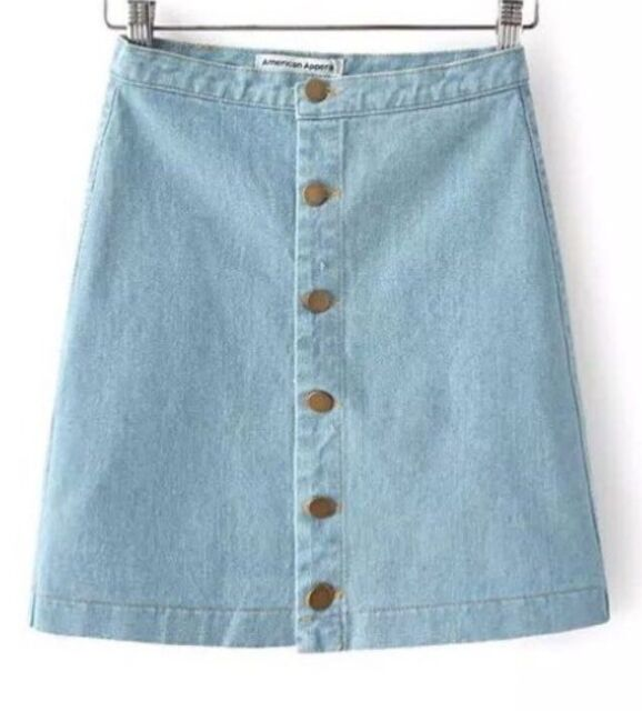 American Apparel Denim Jean Button Down Front A-Line Light Stone Wash Indigo M