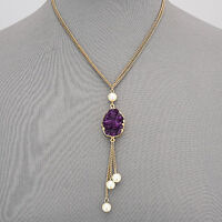 Gold Double Chain Purple Druzy Pearl Tassels Bohemian Style Pendant Necklace