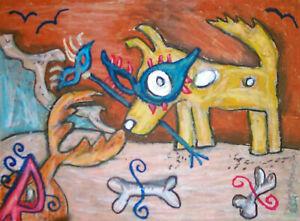 Masquerade-on-Beach-Dog-Crab-Folk-Art-Print-8x10-Vintage-Style-Signed-by-Artist