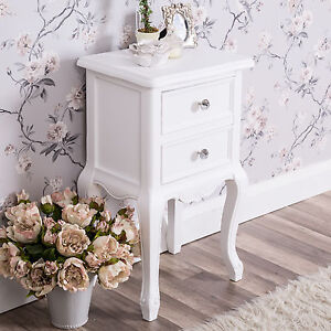 remarkable shabby chic white bedroom furniture   White Bedside Table Shabby Vintage French Chic Ornate Hall ...