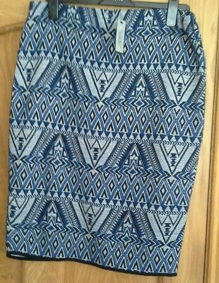 River Island Ladies Womens Argyle Blue Black Print Knee Length Skirt Size 14 Women's Clothing Skirts