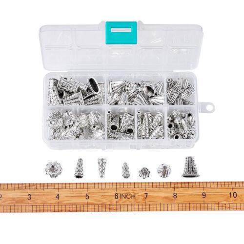 120pc//Box Tibetan Alloy Bead Caps 6 Style Bead Cone Craft Antique Silver 10~18mm
