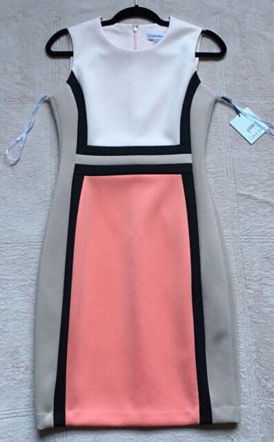 e4a165b051a3 Calvin Klein Color Block Sleeveless Sheath Scuba Dress Sz 6 Peach ...