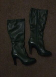 Faith Heel Green Once Leather Platform Knee Boots Worn In Stunning High 4 7a6qnpw