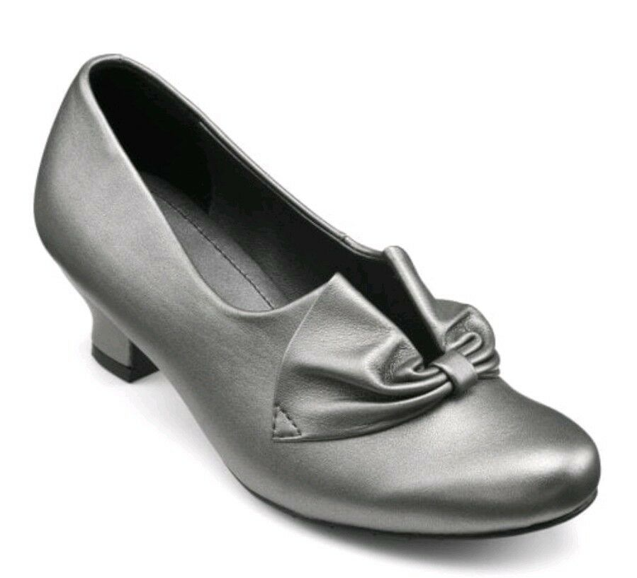 New Hotter women Leather Heel shoes UK 4 Standard Fit. Pewter Silver Bestsellers