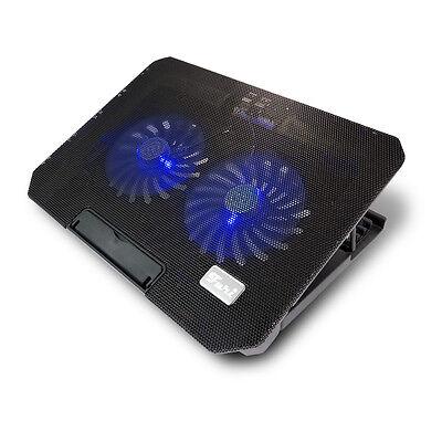 """Notebook Kühler S200C Laptop Cooling Pad 2 Lüfter 2 USB blaue LED 12""""-17"""""""