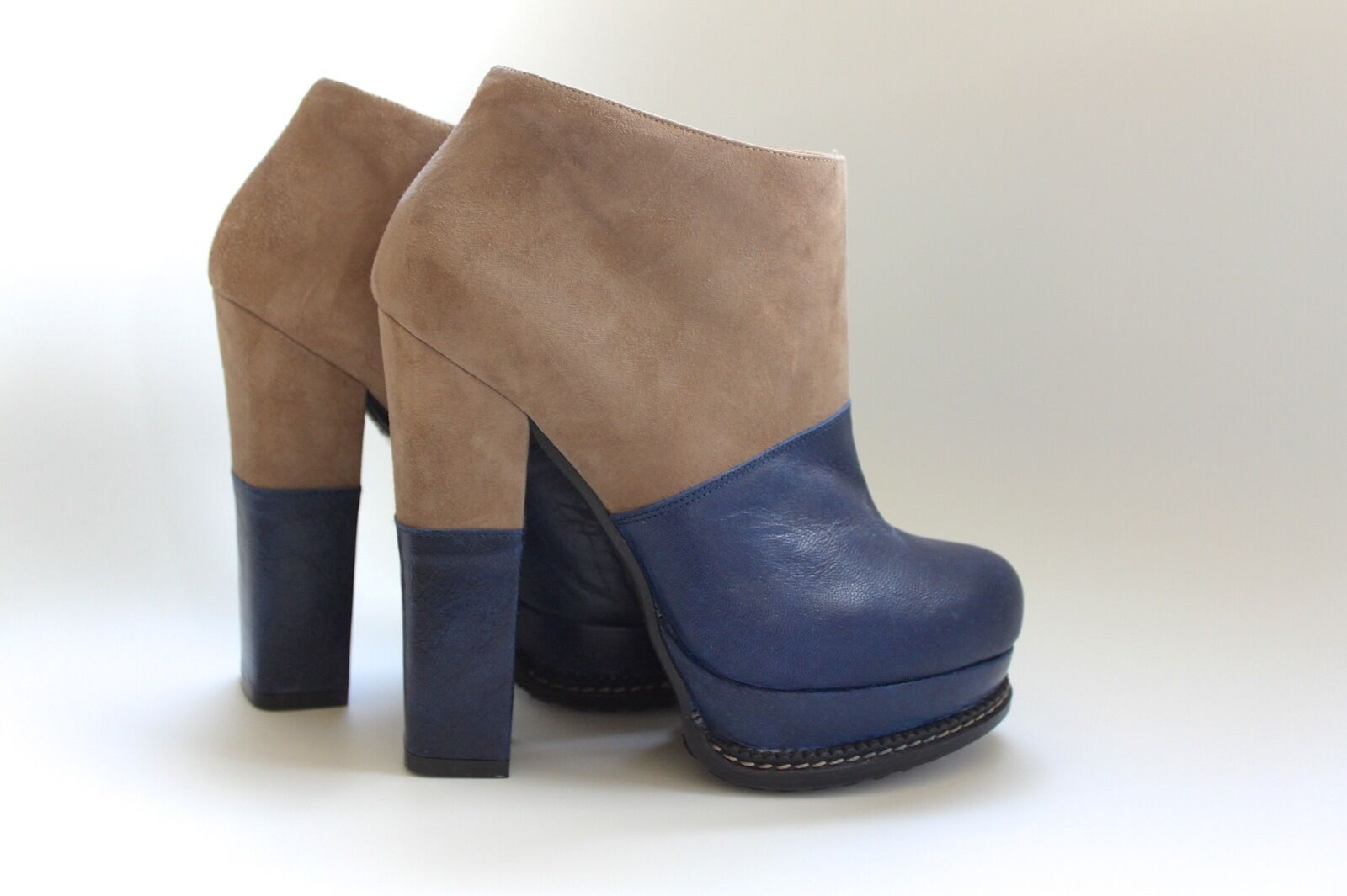 Men/Women NEW ANKLE BOOTS BEIGE AND BLUE Charming design Fine art Various
