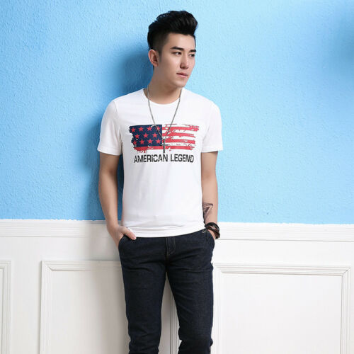 Men/'s Crew Neck Stretch Slim Fit USA Flag Map T-Shirt Short Sleeve Graphic Tee