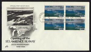 #2091 20c St Lawrence Seaway-Block De 4 , Art Craft FDC Cualquier 4=