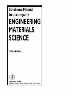 solutions manual to accompany engineering materials science by rh ebay com