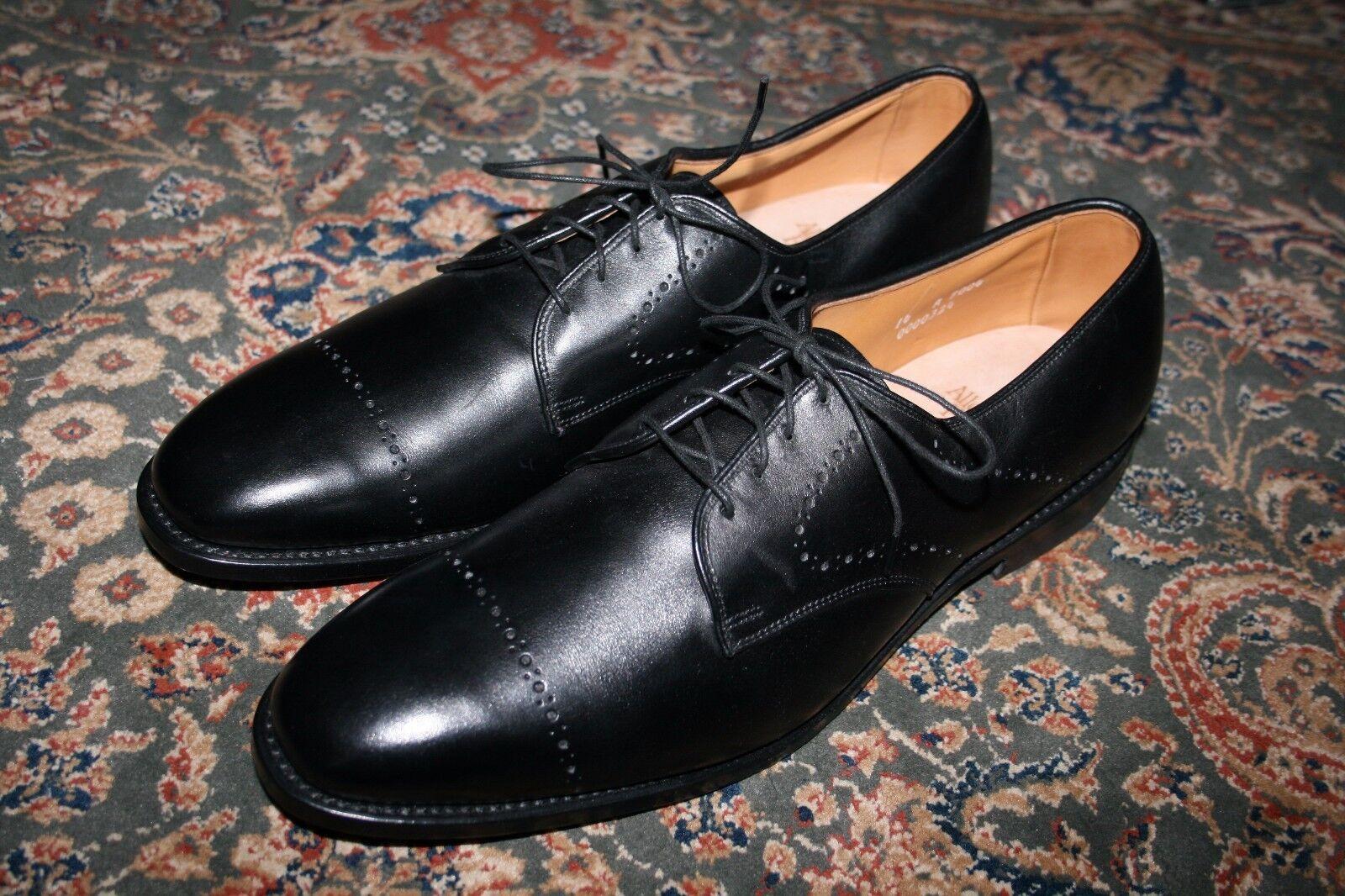 MINT Allen Edmonds Troy Black Leather Perforated Cap Toe Oxford Dress shoes 14 A