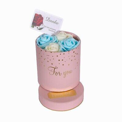GRAVUR Valentinstag Geschenk 4 Rote Rosen Infinity Rosenbox Flowerbox Blumenbox