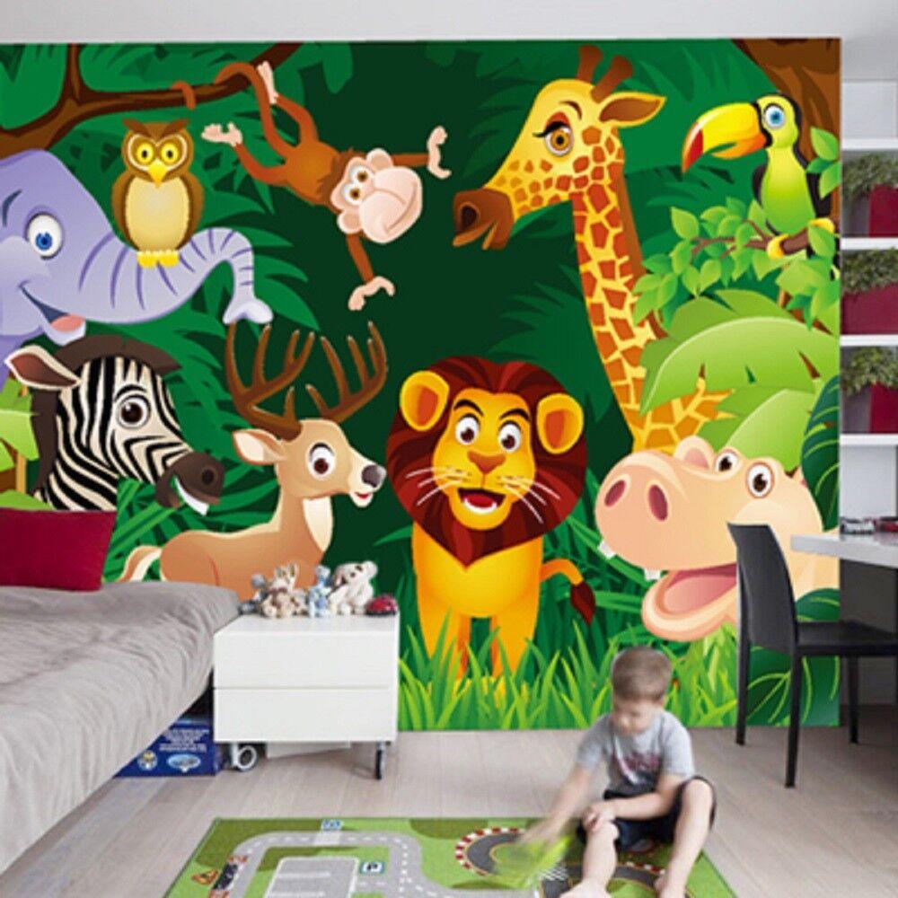 Papel Pintado Mural De Vellón Lindo Bosque De Animales 21 Paisaje Fondo Pansize