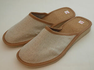 Womens Ladies Natural Flax Linen Leather Slipper Mules Flip-flop Sandals Beach