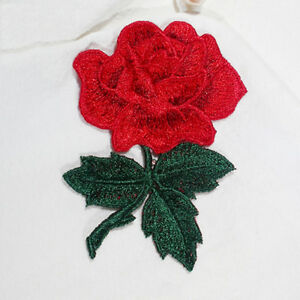 Red-Roses-Flowers-Floral-Retro-Boho-Applique-Embroidery-Iron-on-Patches-DIY