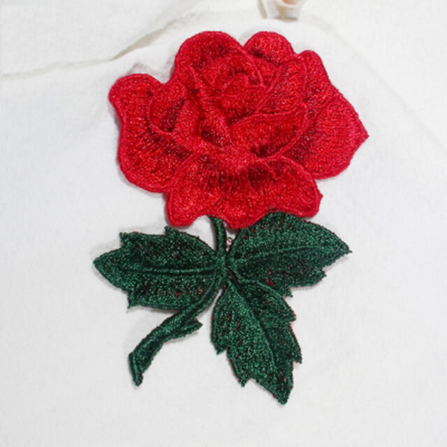 Red Roses Flowers Floral Retro Boho Applique Embroidery Iron-on Patches DIY
