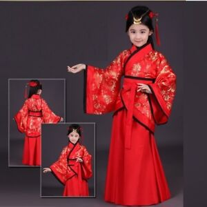 9eeded967 Image is loading Girls-children-traditional-ancient-chinese-silk-dress-hanfu -