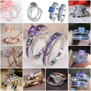 Women-925-Silver-Pink-Sapphire-White-Topaz-Stackable-Rings-Wedding-Jewelry-5-10