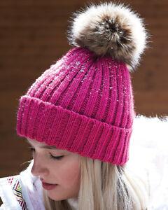 900f3dd35cb Beechfield Pom pom bobble hat chunky ladies grey fuchsia pink red ...