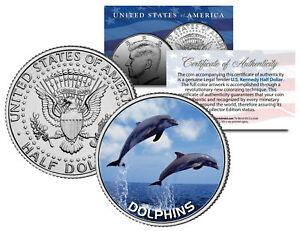 DOLPHINS-JFK-Kennedy-Half-Dollar-U-S-Colorized-Coin