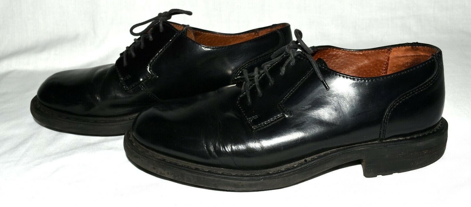 Kenneth Cole Reaction Black Shiny Leather Mens Oxfords Shoes Size 9.5 M