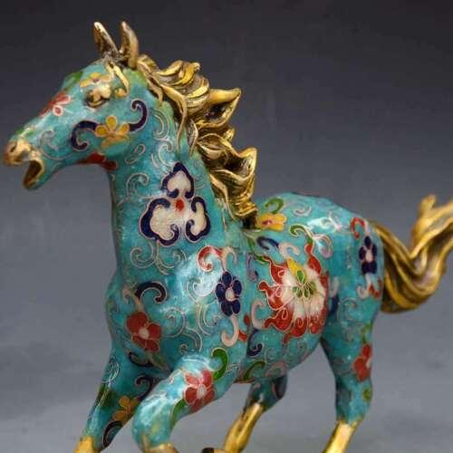 Rare Old Tibet Cloisonne Enamel Bronze Dynasty Running Horse battle steed Statue