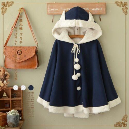 Japanese Style Super Cute Thick Woolen Cloak Sweet Lolita Hooded Batwing Coat