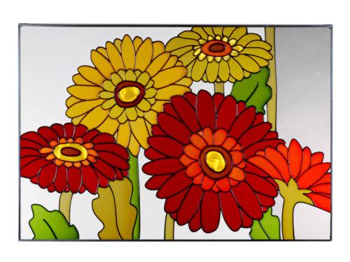 20x14 GERBERA DAISY Floral Stained Art Glass Suncatcher
