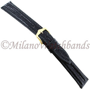 16mm-Hirsch-Black-Tornado-Double-Ridge-Textured-Genuine-Leather-Mens-Band-Reg