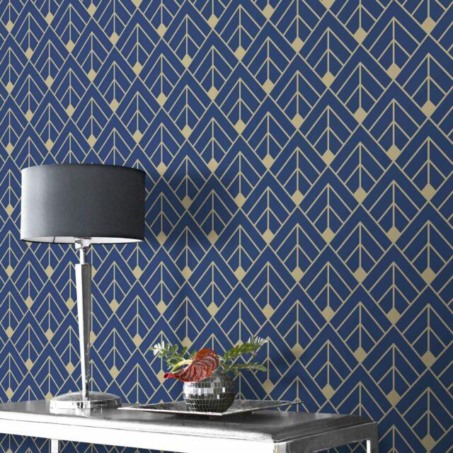 1a2386946 Diamond Geometric Wallpaper Navy Blue Gold Glitter Shimmer 3d Effect ...