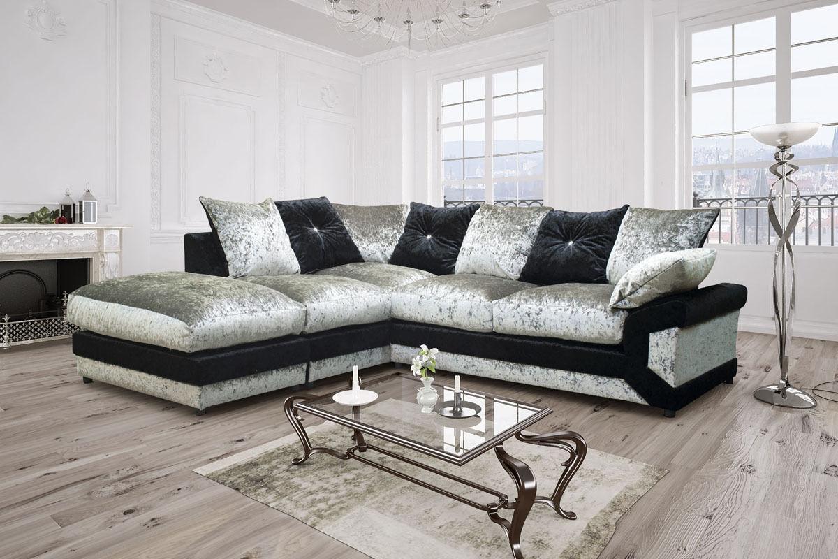 Vegas Crushed Velvet Corner Sofa Black Silver Brown Beige