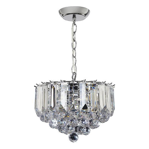 Endon Fargo small chandelier 3x 60W Chrome effect plate & clear acrylic