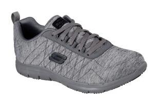 Ghenter Zapato Sr Corte El Para Trabajo Gris Skechers Mujer Oscuro Holgado wPf4xqT