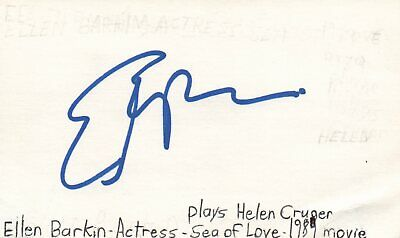 Autographs-original Movies Ellen Barkin Actress Helen In Sea Of Love Movie Autographed Signed Index Card