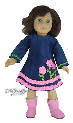 Navy Blue Corduroy Dress w/ Pink Flowers & Boots for American Girl Doll Clothes