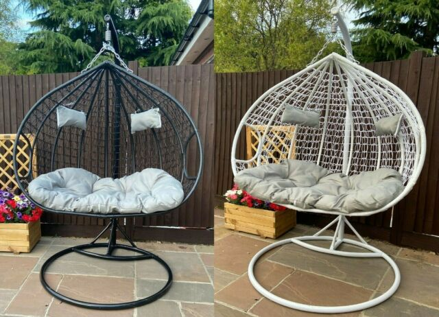 Outdoor Garden Single And Double Hanging Pod Chair Set Black Grey For Sale Ebay