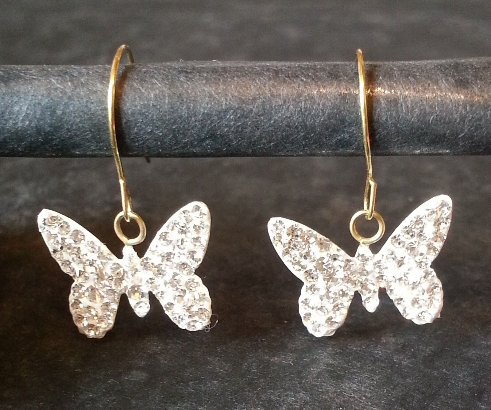 9 CT Cristal Papillon Boucles Oreilles