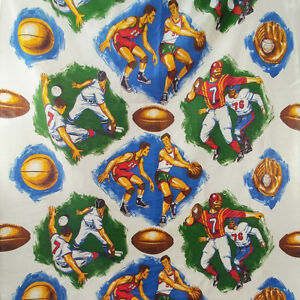 Sports Theme Fabric Vintage Baseball Football Basketball