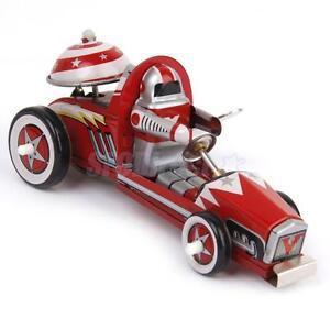 Retro Wind up Racing Race Car Racer Driver Clockwork Mechanical Tin Toy Red