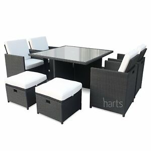 Image Is Loading Outdoor Rattan Weave 8 Seat Dining Cube Set