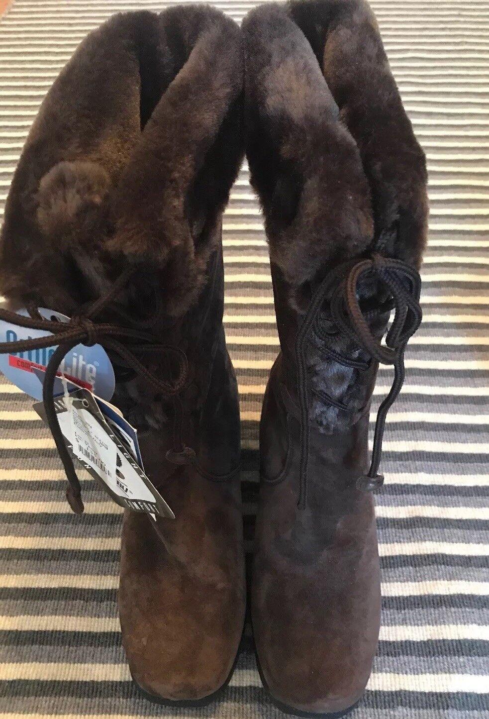 Khombu womens boots bellino2 8.5 M sherpa fleece lined brown suede winter