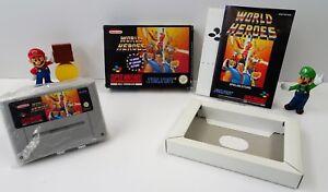 SUPER-Nintendo-SNES-Gioco-World-Heroes-istruzioni-OVP-CIB