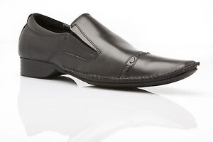 MENS-ZASEL-MURPHY-Dress-Black-Leather-Slip-On-Formal-Casual-Work-Shoes
