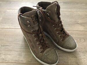 Details zu Guess Damen Keil Sneaker Wedge , Braun , Gr. 37 , 2x Getragen