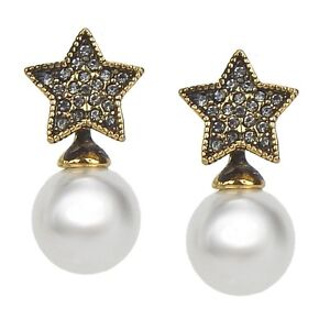 Image Is Loading Pearl Earrings White Gold Star Ear Studs By