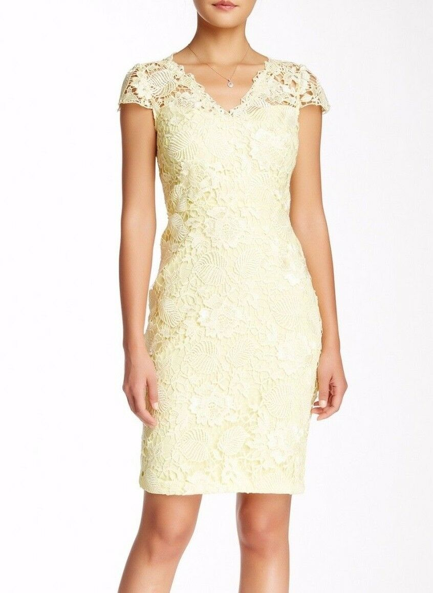 NEW  Mikael Aghal Lace Sheath Crochet Dress in Sorbet Yellow [SZ 12 ]  A158