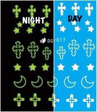 Nail Art Water Decals Glow in the Dark Night Time Cross Moon Stars DG017